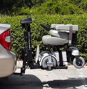 HoverLift Power Chair Lift with an MPV5 Power Chair on board