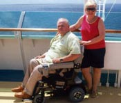 A Hoveround user enjoys the view from a cruise ship