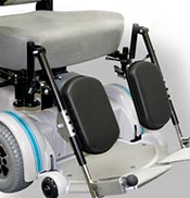Elevating leg rests can be added to a power wheelchair to help ease arthritis