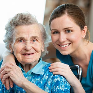 a daughter enjoys time with her elderly mom