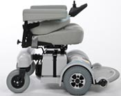 An MPV5 power chair with backrest folded down