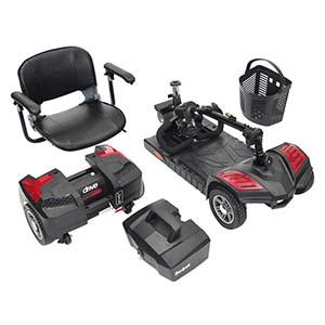 A 3 wheel mobility scooter fully disassembled