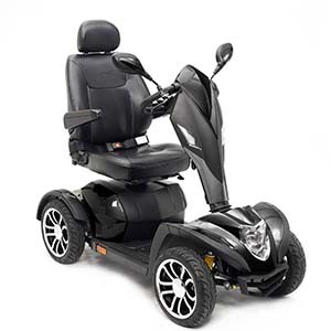 A typical 4 wheel motorized scooter