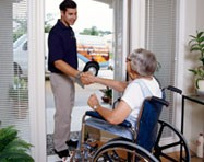 Hoveround RTS helping a customer
