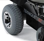 A typical pneumatic tire on a Teknique Power Wheelchair