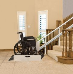 The Sierra Wheelchair Lift is a platform lift designed to serve as a wheelchair stair lift.
