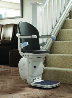 A typical installation of an H1000 stair lift
