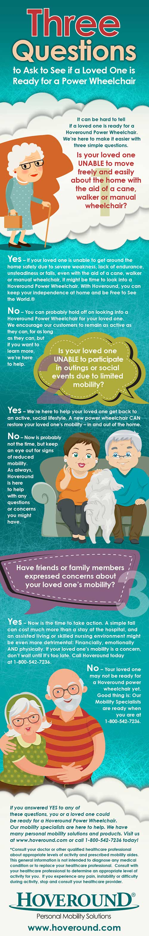 An inforgraphic with three questions to help determine if your loved one is ready for a power chair